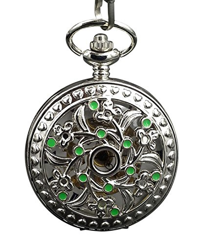 ShoppeWatch Pocket Watch Celtic Floral Filigree Case Green Accent Hand Wind Mechanical Steampunk PW-189
