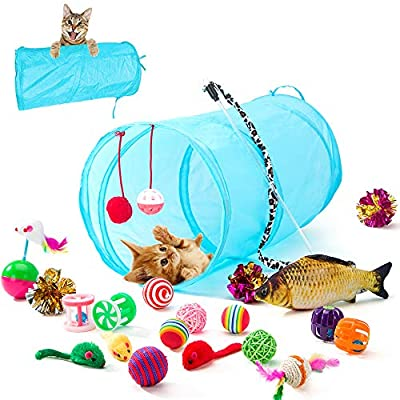Kitten Toys HIPIPET 21PCS Cat Toys Interactive Kitten Toys Assortments Tunnel Balls Fish Feather Teaser Wand Mic [tag]