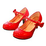 BININBOX Girls PU Leather High Heel Shoes Bowknot Girls Dress Shoes (12.5 M US Little Kid, Red)