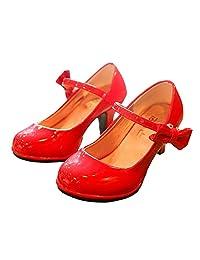 BININBOX Girls PU Leather High Heel Shoes Bowknot Girls Dress Shoes