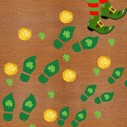 CCINEE 112pcs Leprechaun Footprint Floor Stickers Self-Adhesive Green Decals 56 Pairs for St. Patrick's Day Decoration 14 Pieces/8 -