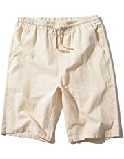 SIR7 Men's Linen Casual Classic Fit 11 Inch Inseam Elastic Waist Shorts with Drawstring