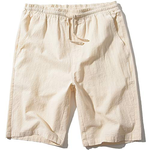 SIR7 Men's Linen Casual Classic Fit 11 Inch Inseam Elastic Waist Shorts with Drawstring Beige Medium