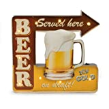 """""""Beer Served Here"""" Metal Sign Distressed / Vintage finish Table Display and Wall Mountable Battery powered LED lightbulbs Requires 2 AA batteries (not included) 16""""L x 2""""W x 15.5""""H"""