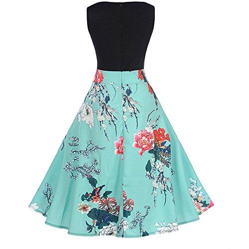iLUGU O-Neck Sleeveless Knee-Length Dress for Women Floral Print A-Line Prom Dresses for Women