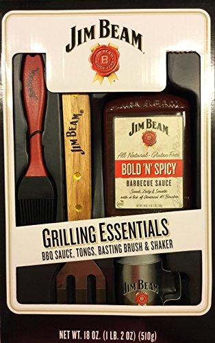 (Jim Beam Grilling Essentials Tongs, Bsting Brish, Shaker Grilling Gift Set)