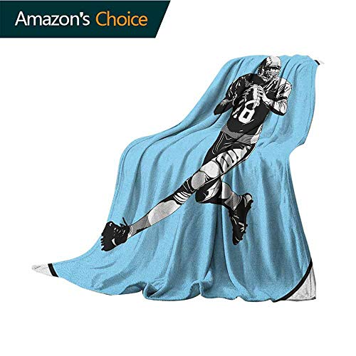 Sports Weighted Blanket,American Football League Game Rugby Player Run Original Retro Illustration Reversible Soft Fabric for Couch Sofa Easy Care,35