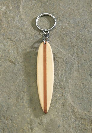 Wooden 9cm White Surfboard Keychain ()