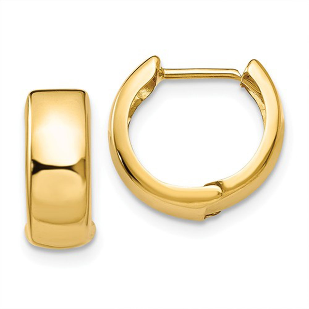 Small 14K Gold Huggie Hinged Hoop Earrings, .50 Inch (13mm) (5mm Wide) (Yellow)