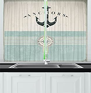 Ambesonne Nautical Kitchen Curtains By Aged Ocean Lover Phrase With Anchor Figure And Compass Marine