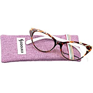 SOOLALA Modern Cat Eye Clear Lens Eye Glasses Frame Reading Glasses for Ladies, Tortoise, +2.5D