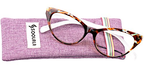SOOLALA Modern Cat Eye Clear Lens Eye Glasses Frame Reading Glasses for Ladies, Tortoise, +0.75D