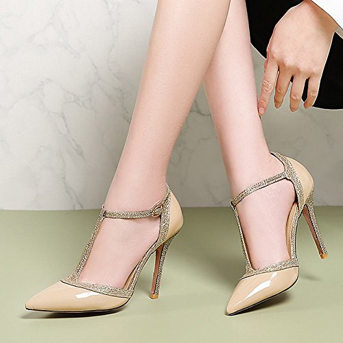 Carolbar Women's Elegant Sexy T-Strap High Heel Buckle Evening Shoes Nude Sc7L2pVUyV