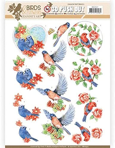[해외]Find It Trading Jeanine`s Art Birds & Flowers Punchout Sheet-Blue Birds / Find It Trading Jeanine`s Art Birds & Flowers Punchout Sheet-Blue Birds