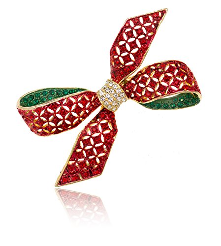 Akianna-Gold-tone-Swarovski-Element-Crystals-Christmas-Red-Ribbon-Bow-Brooch-Pin