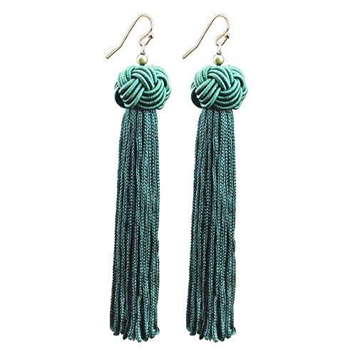 Extra Long Fringe (Mina Knotted Extra Long Fringe Tassel 4.8 inch Drop Shoulder Duster Statement Green Earring)