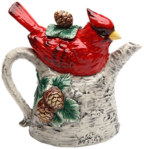 Cosmos 10709 Gifts Cardinal on Birch Tree Ceramic Teapot, 5-7/8-Inch