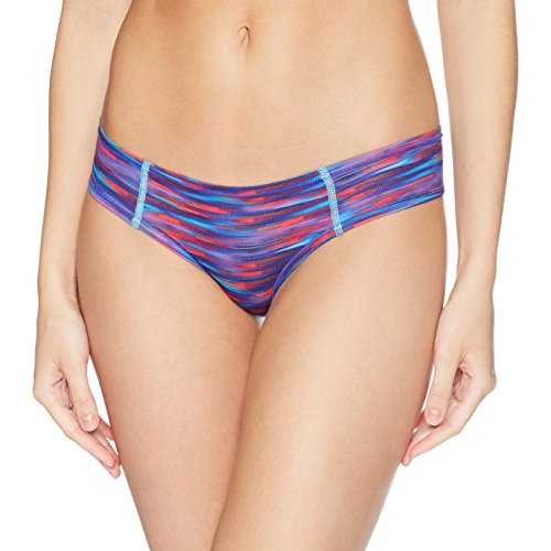 adidas Women's SuperLite Single Thong Underwear, Whimsy Print Bright Cyan, Small