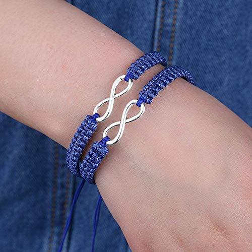 Mikash 2pcs Best Friend 8 Charms Pendant Braid Velvet Leather Infinity Bracelet Bangle | Model BRCLT - 12104 |