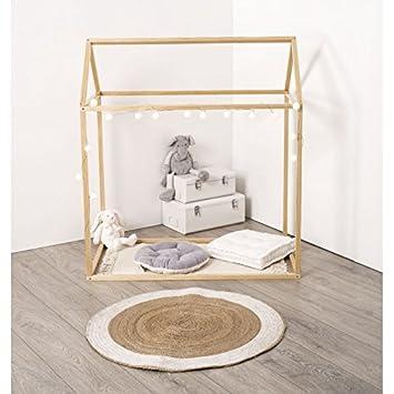 web2o cabane dcoration en pin naturel pour lit enfant 126 cm - Lit Enfant Cabane