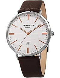 1c7fd1648 Akribos Stamped Checkered Design Men's Watch - Matte Case Textured Dial  With Date Window Genuine Leather