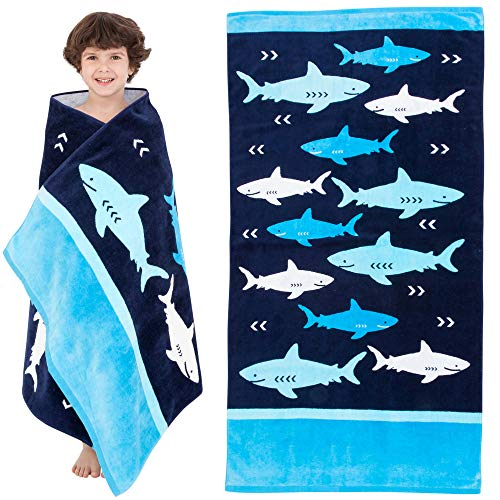 Childrens Swimming Towels (Yayme! Shark Beach Towel for Boys | Cotton Travel Towel Kids Beach Towel Perfect for Vacations, The Swimming Pool and Bath Time for Kids and Toddlers | Fun Summer Accessories)