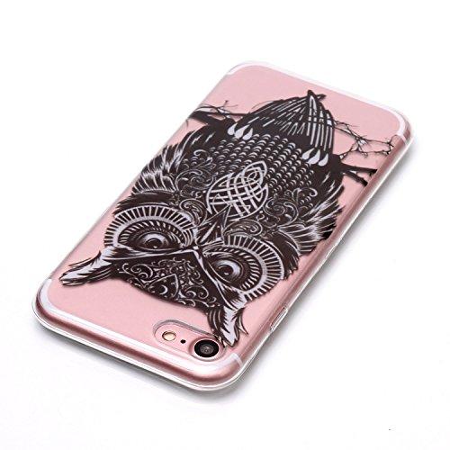 Coque iPhone 7 / iPhone 8 Chouette noire Premium Gel TPU Souple Silicone Transparent Clair Bumper Protection Housse Arrière Étui Pour Apple iPhone 7 / iPhone 8 + Deux cadeau