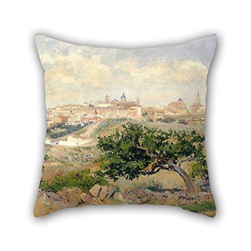 Oil Painting Aureliano De Beruete - View Of Toledo Throw Pil