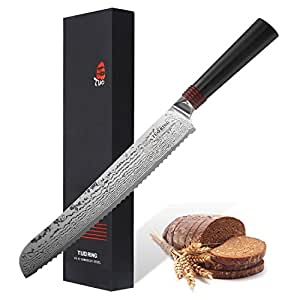 9-inch Pro Damascus Bread Knife -RING Series By Tuo Cutlery With Japanese 67 Layers VG-10 Damascus Stainless Steel and G10 Handle, TC0305