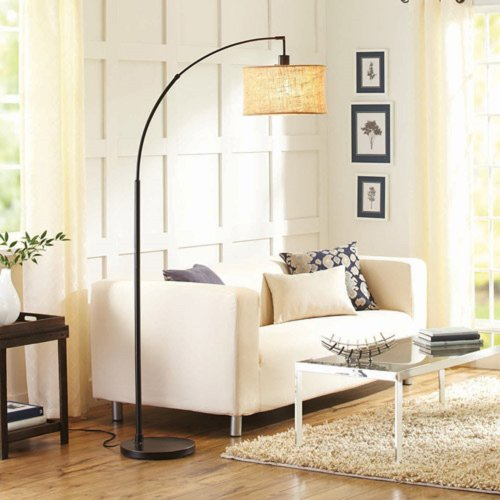 BHG Burlap and Metal Arc Floor Lamp with CFL Bulb, Bronze