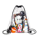 Clear Drawstring Backpack Stadiam Aproved Bag For School, Security Travel, Sports, Waterproof – Clear Vinyl body with Black Draw String Bag
