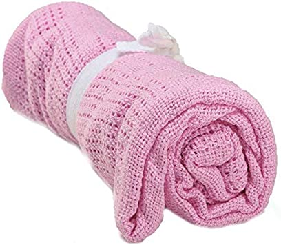 Wrighteu Manta Bebés Algodón de Primerizos Suave Cómoda Tejida con Lazo Compuesta para niños y niñas Infantil Celular Cochecito Cama Cuna Color sólido 80x100 CM (Rosa)