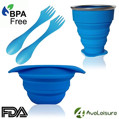AvaLeisure COLLAPSIBLE TRAVEL CUP & BOWL SET, 10oz Drinking Mug with Lid, 25oz Silicone Bowl, 2 Tritan Sporks, BPA Free, Hot & Cold Food, Snacks, Drinks, for Hiking, Camping, Picnic, Outdoor & (Collapsible Cups Set)