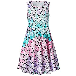 BFUSTYLE Girls 6t Mermaid Dress Little Girl Light Purple Pink Blue Green Sundresses Size 7 6 Sleeveless Crewneck Party Swing Dress for Kid Girl Dress Up Spring (M Mermaid Pink)