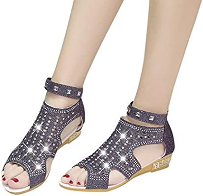 3c268c8e5 Amazon.com  AIMTOPPY Spring Summer Ladies Women Wedge Sandals Fashion Fish  Mouth Hollow Roma Shoes (US 7.5