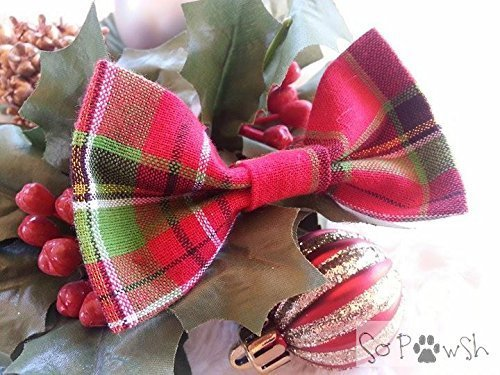 Plaid Bow Tie Pet Collar Accessory