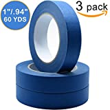 Painters Tape 3pk 1'' x 60 yd | PROFESSIONAL Blue Painters Masking Tape | Easy and Clean Removal | Multi Surface Use | ISO 9001 Worldwide Quality | Leaves No Residue Behind | (24mm .94in)