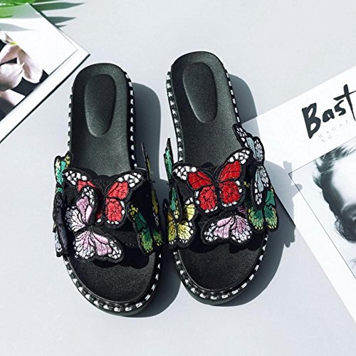 Black Sandals 2 Women Toe Mules Thick TAOFFEN Open Fashion Sole OZwR8xqpg