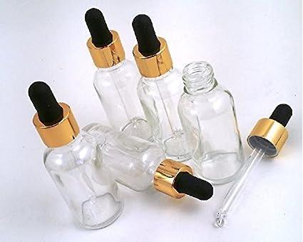 5 botellas de vidrio transparente para aromaterapia de 30ml con cuentagotas de vidrio dorado