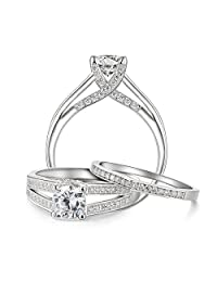 Newshe 1.5ct Round White Cz 925 Sterling Silver Wedding Band Engagement Ring Set Size 5-10