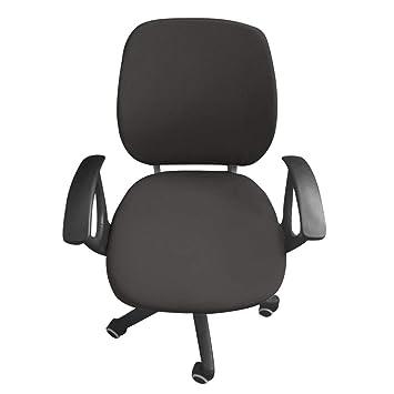 Funda para silla de oficina de ordenador JIAN YA NA, protectora y elástica, universal, funda giratoria para silla gris