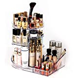 Acrylic Makeup Organizer big tool storage with tray 360 Degree Rotating Clear Adjustable height Cosmetic Storage with…
