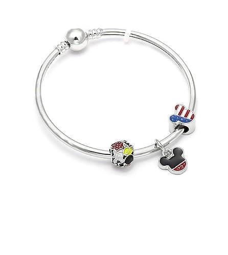 8e0d1904d074 Générique Pulsera Estilo Pandora Charm  S Disney Mickey América Plata 925 °