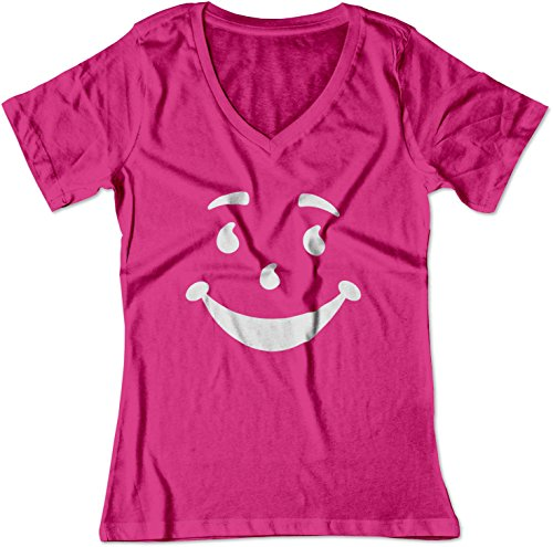 (BSW Women's Kool-Aid Man Smiley Face Oh Yeah! Juice V-Neck Shirt LRG Raspberry)