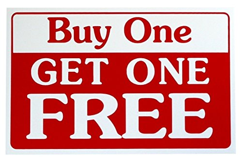 1-Pc Premium Popular Buy One Get One Free Sign Business Plastic Decal Discount Size 7