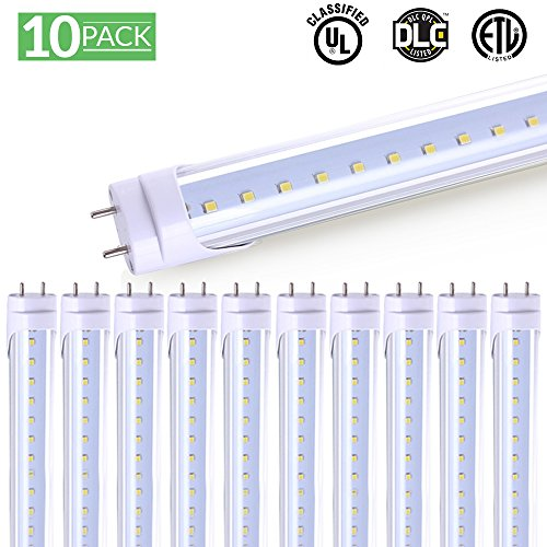 40 Lumens Led - Sunco Lighting 10 Pack 4FT 48 Inch LED T8 Tube Light Bulbs 18 Watt (40 Equivalent) Clear 6000K Kelvin 2200 Lumens, Bright White Light, Single Sided Connection Bypass Ballast - ETL and DLC Listed