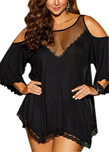 FENTI Women Plus Size Babydoll Jersey Knit Camisole Dress Lace Trim Lingerie, Black, 3XL -