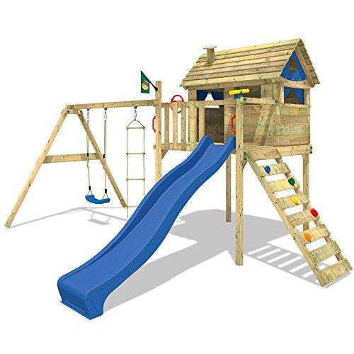 WICKEY Spielturm Smart Plaza Stelzenhaus Rutsche Schaukel Blaue Rutsche / Blaue Plane