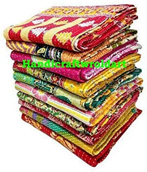 rajwada-fashion Indian Vintage Handmade Kantha Quilts Indian Tribal Kantha Cotton Bed Cover Throw Assorted Patches Made Rally Reversible Bedspread Throw Old Sari Made Assorted Patches Cotton Blanket