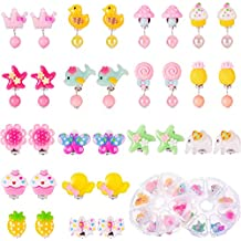 TOODOO 16 Pairs Girls Clip on Earrings Princess Play Earrings with 2 Clear Box Pretend Play Dress up for Party Favor